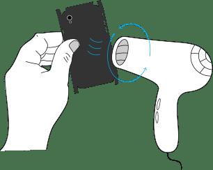 Aplicare aer cald in sens circular