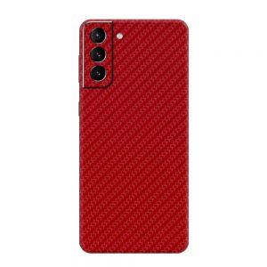 Skin Fibră de Carbon Roșu Samsung Galaxy S21 / Galaxy S21 Plus